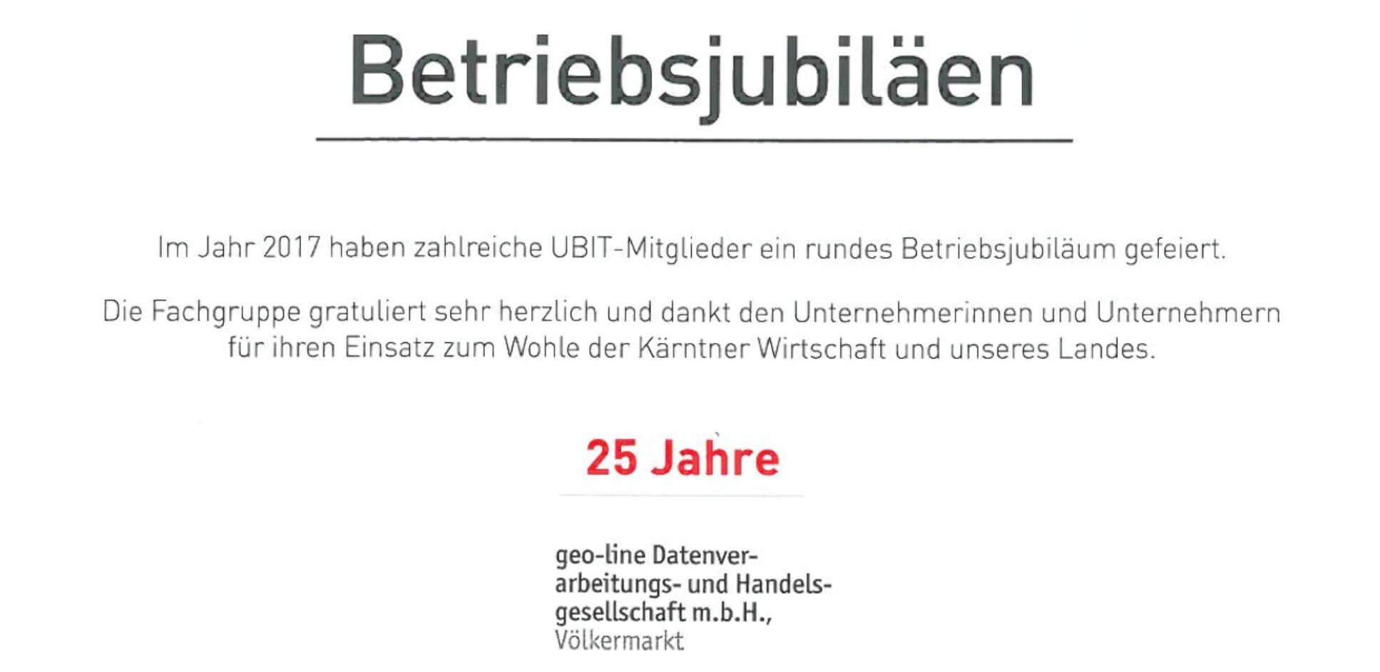 geo-line Betriebsjubiläum